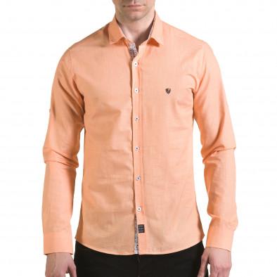 Мъжка оранжева риза на много фини квадратчета Buqra 5