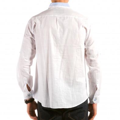 Мъжка бяла риза с раирана яка il180215-173 2