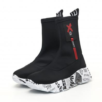 Черни дамски кецове чорап с детайл tr180320-26 4