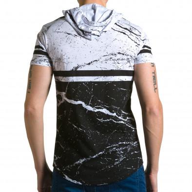 Мъжка бяло-черна тениска с качулка и принт звезди Belman 4
