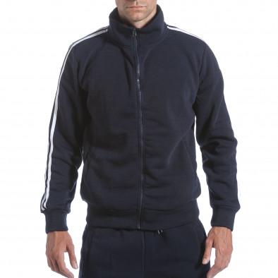 Мъжки син спортен комплект с бели ленти it160817-74 4