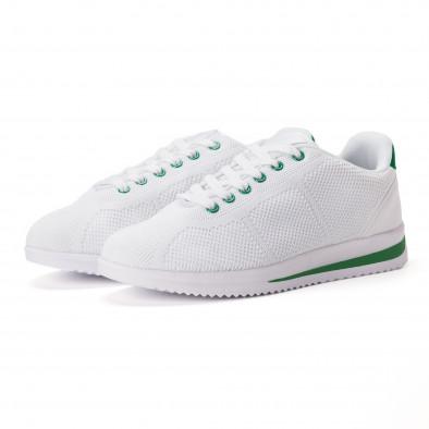 Леки мъжки маратонки от бял текстил със зелени акценти it020618-12 3