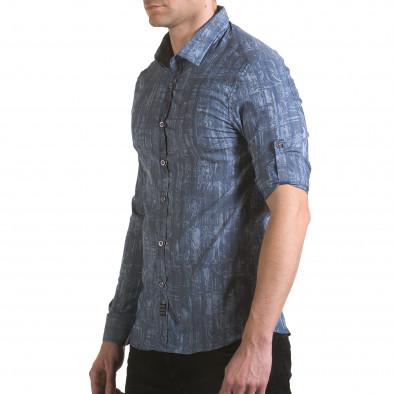 Мъжка синьо-сива риза с фигурална шарка il170216-125 4