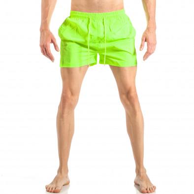 Мъжки неонов зелен бански с трицветна лента it040518-94 2