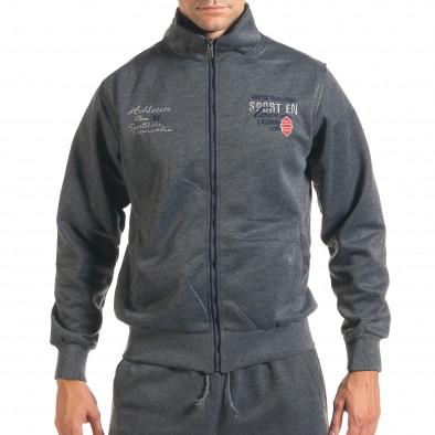 Мъжки тъмно сив спортен комплект с надписи it160916-71 4