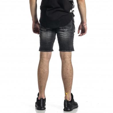 Destroyed черни къси дънки с аксесоар gr270221-10 4
