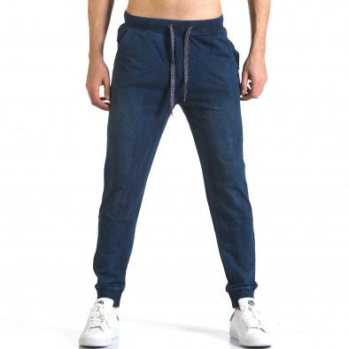 Мъжки сини потури с ефект на дънки със сини връзки it090216-58 2