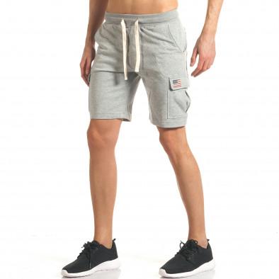 Мъжки сиви шорти с джобове на крачолите it140317-118 4