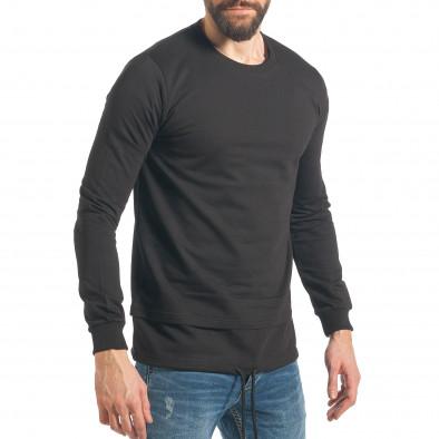 Мъжки черен суичър с връзка it290118-101 4