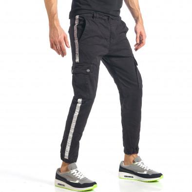 Мъжки черен карго панталон с ленти отстрани it290118-10 4