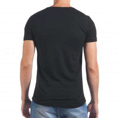 Мъжка черна тениска със сребрист череп отпред Eksi 4