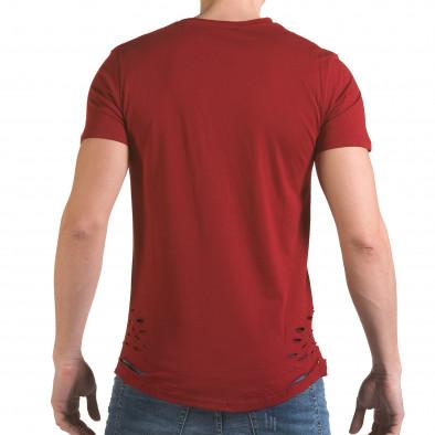 Мъжка червена тениска с декоративни скъсвания il170216-61 3