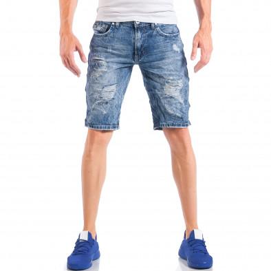 Мъжки сини къси дънки с кантове на звезди и скъсвания it050618-22 3