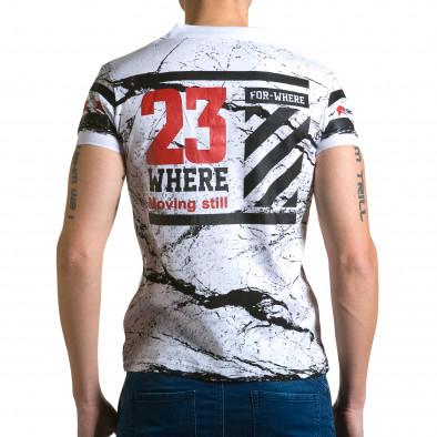 Мъжка бяла тениска с яка с черен принт и номер на гърба ca190116-37 3
