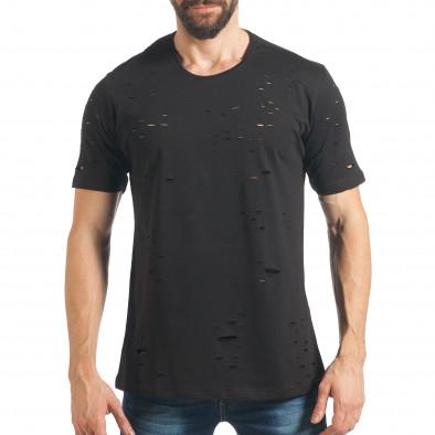 Мъжка черна тениска с декоративни скъсвания tsf020218-28 2