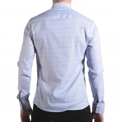 Мъжка светло синя риза с малки детайли и скрити копчета il170216-112 3