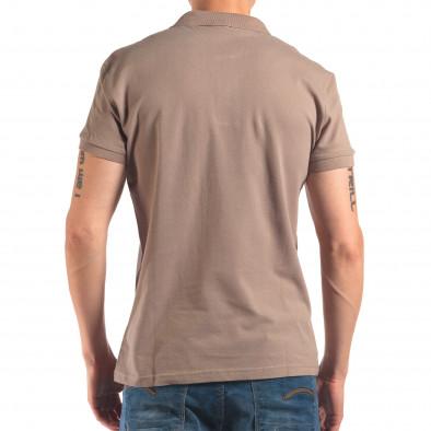 Мъжка сиво-зелена тениска с яка изчистен модел it150616-38 3