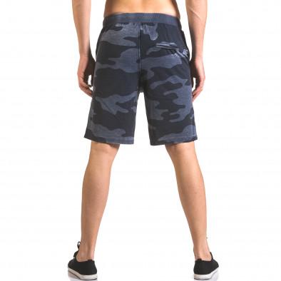 Мъжки къси панталони тип шорти син камуфлаж ca050416-45 3