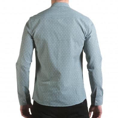 Мъжка зелена риза на фини квадратчета с лого il170216-107 3