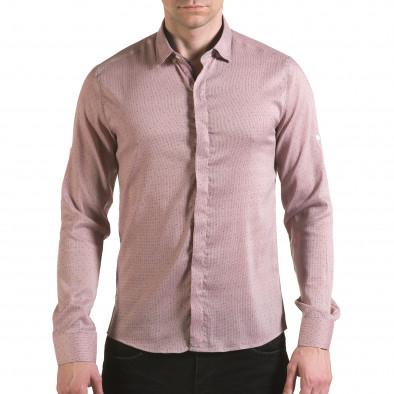 Мъжка бежова риза с малки детайли и скрити копчета il170216-116 2