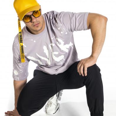 Мъжка лилава тениска с принт Oversize tr150521-11 3