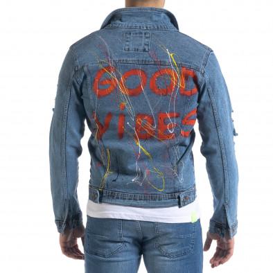 Мъжко синьо дънково яке с пръски боя tr110320-105 4
