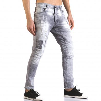 Мъжки сиви дънки със скъсвания и боя it110316-30 4