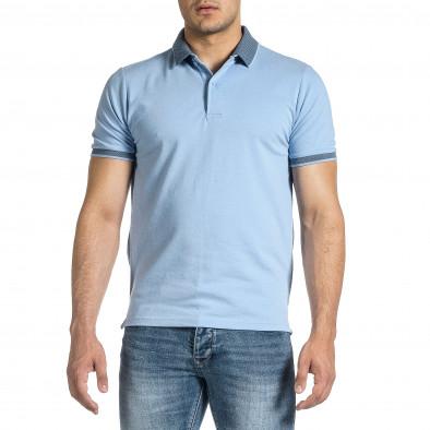 Мъжка светлосиня тениска с яка меланж it150521-13 3
