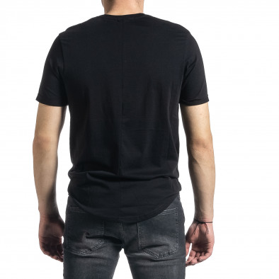 Мъжка черна тениска с флок печат tr270221-48 3