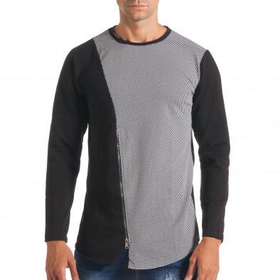 Мъжка черно-сива блуза с декоративен цип it180816-7 2