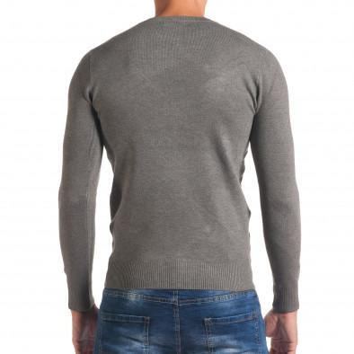 Мъжки светло сив изчистен пуловер с обло деколте it170816-43 3