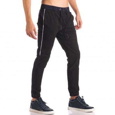 Мъжки черен спортен панталон със сини ленти  it150816-17 4