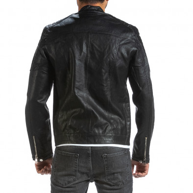 Рокерско черно кожено яке с капитонирани детайли il070921-32 3