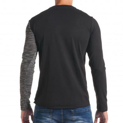 Мъжка черна блуза с тъмно сива част и цип it180816-8 3