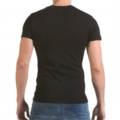 Мъжка черна тениска с цип на деколтето SAW 4