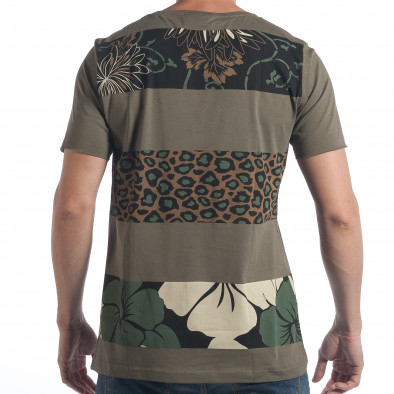 Мъжка зелена тениска с флорален принт tsf090617-36 3