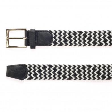 Мъжки плетен колан в черно и бяло it250915-8 2