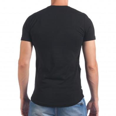 Мъжка черна тениска със зъбци от цип и декоративни скъсвания Eksi 4