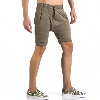 Мъжки зелени къси панталони със смъкнато дъно it110316-33 4