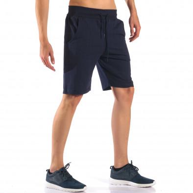 Тъмно сини мъжки шорти изчистен модел it160616-9 4