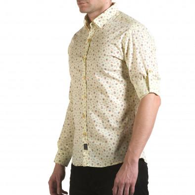 Мъжка жълта риза с малки цветя il170216-119 4