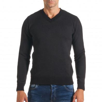 Мъжки черен пуловер с фигурална плетка it170816-5 2