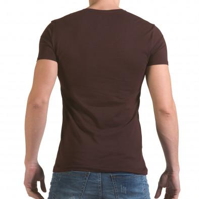 Мъжка кафява тениска с принт индианец Click Bomb 4