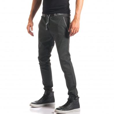 Мъжки тъмно сив спортен панталон с копчета it150816-20 4