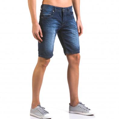 Мъжки тъмно сини къси дънки изчистен модел Justing 5