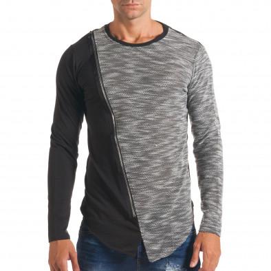 Мъжка черна блуза със светло сива част и цип it180816-9 2