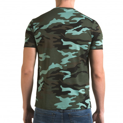 Мъжка тениска светло зелен камуфлаж с принт it090216-65 3