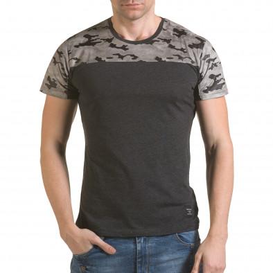Мъжка сива тениска с камуфлажна част на раменете il170216-46 2