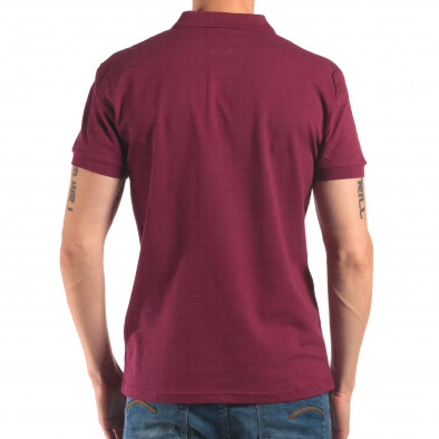 Мъжка червена тениска с яка изчистен модел it150616-37 3
