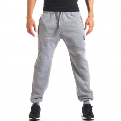 Мъжко сиво долнище с ципове на джобовете it160816-9 2